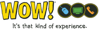 Wowway.com ebsite logo with slogan It's that kind of Experience
